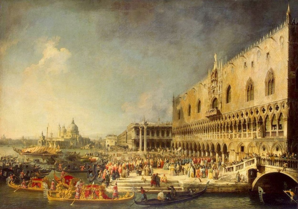 Canaletto – The Hermitage Museum ГЭ-175. Title: Reception of the French Ambassador in Venice. Date: c. 1726-1727. Materials: oil canvas.  Dimensions: 181 x 259.5 cm. Nr.: ГЭ-175. Source: http://1.bp.blogspot.com/-D8OvBONf3u0/VNzt5PDMOEI/AAAAAAAAAGY/D9eG-2Yc62A/s1600/Giovanni_Antonio_Canal,_il_Canaletto_-_Arrival_of_the_French_Ambassador_in_Venice_-_WGA03934.jpg. I have changed the light, contrast and colors of the original photo.