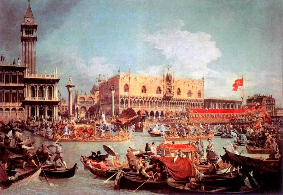 Canaletto – private collection. Title: The Bucintoro Returning to the Molo on Ascension Day. Date: c. 1730. Materials: oil on canvas. Dimensions: 182 x 259 cm. Source: https://commons.wikimedia.org/wiki/File:Giovanni_Antonio_Canal,_il_Canaletto_-_The_Bucintoro_Returning_to_the_Molo_on_Ascension_Day_-_WGA03887.jpg. I have changed the light, contrast and colors of the original photo