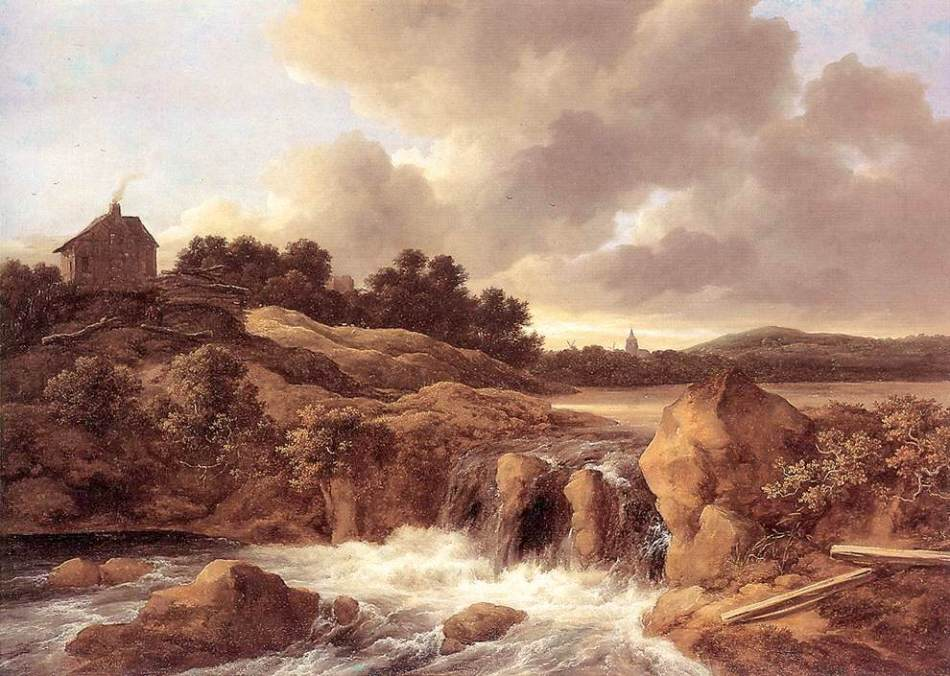 Jacob van Ruisdael – The Wallace Collection P56. Title: Landscape with a Waterfall. Date: c. 1670. Materials: oil on canvas. Dimensions: 101.2 x 142.2 cm. Inscriptions: JV (in monogram) Ruisdael. Nr.: P56. Source: https://commons.wikimedia.org/wiki/File:Jacob_Isaacksz._van_Ruisdael_-_Landscape_with_Waterfall_-_WGA20506.jpg. I have changed the light, contrast and colors of the original photo.