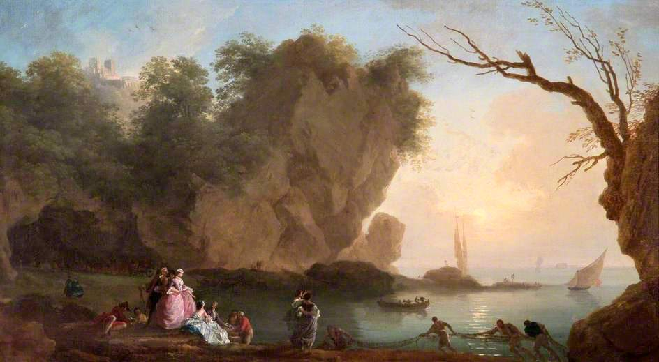Claude-Joseph Vernet –Apsley House WM.1645-1948. Title Sunset: View over a Bay with Figures. Date: 1742. Materials: oil on canvas. Dimensions: 57 x 105 cm. Nr.: WM.1645-1948. Source: http://static.artuk.org/w944h944/WMR/WMR_APH_N070601.jpg. I have changed the light and contrast of the original photo.