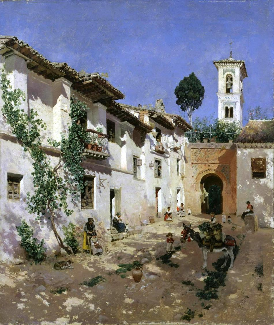 Martin Rico y Ortega – Hermitage Museum ГЭ-8918. Title: Courtyard in Spain. Date: second half of the 19th c. Materials: oil on canvas. Dimensions: 51 x 42 cm. Nr.: ГЭ-8918.  Source: http://www.hermitagemuseum.org/wps/portal/hermitage/digital-collection/01.+Paintings/29417/?lng=en. P.S. I have changed the contrast of the original photo.