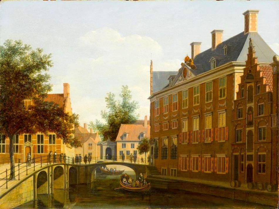 Gerrit Berckheyde – Amsterdam Museum SB 329. Title: De Grimburgwal met het Oudezijdsherenlogement. Date: c. 1665-1685. Materials: oil on panel. Dimensions: 32.5 x 42.5 cm. Nr.: SB 329. Source: http://am.adlibhosting.com/amonline/advanced/Details/collect/39427. I have changed the light and contrast of the original photo.
