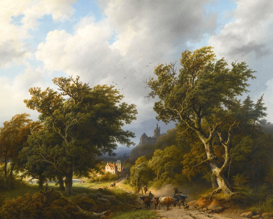 Barend Cornelis Koekkoek– private collection. Title: The Gust of Wind. Date: 1855. Materials: oil on panel. Dimensions: 72 x 89 cm. Inscriptions: B.C. Koekkoek ft 1855 (lower right).  Auctioned by Sotheby's, in London, on December 16, 2015. Source: http://www.sothebys.com/content/dam/stb/lots/L15/L15102/076L15102_8PSRJ.jpg.