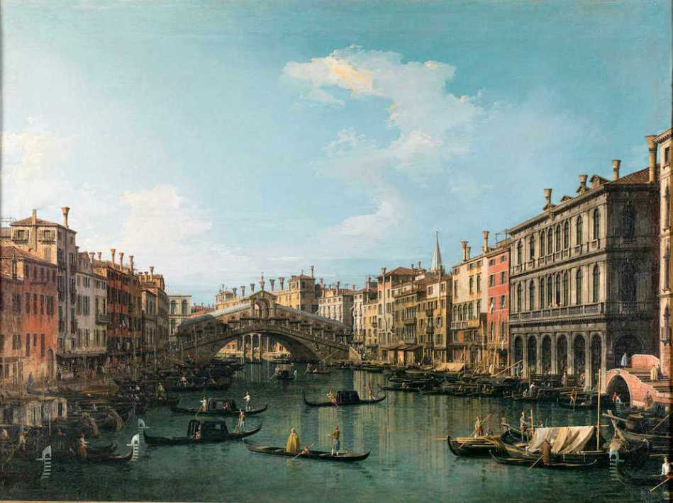 Canaletto – Galleria Nazionale d'Arte Antica in Palazzo Barberini 1033 (F.N. 304). Title: Venezia, il ponte di Rialto. Date: c.1735. Materials: oil on canvas. Dimensions: 68.5 x 92 cm. Acquisition date: 1892. Nr. 1033 (F.N. 304. Source: http://www.beniculturali.it/mibac/multimedia/MiBAC/images/upload/large/72/1459506108798_Canaletto1.jpg. I have changed the light of the original photo.