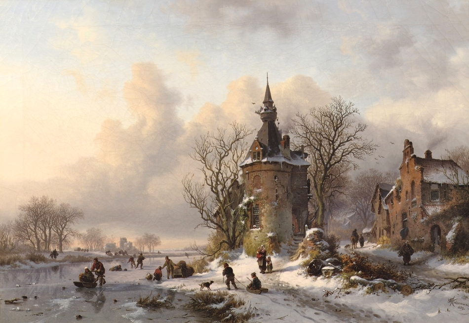 Frederik Marinus Kruseman – private collection. Title: A Winter Landscape with Skaters Near a Castle.  Date: 1859. Materials: oil on canvas. Dimensions: 59 x 84 cm. Inscriptions: FM Kruseman.fc./1859 (lower right). Sold by Christie's in Amsterdam, on May 6, 2009. Source: http://4.bp.blogspot.com/-ujPAK_AKrZE/VoM2Shj4Q8I/AAAAAAAA3fY/m-vXBaGczv0/s1600/1859_%25D0%2597%25D0%25B8%25D0%25BC%25D0%25BD%25D0%25B8%25D0%25B9%2B%25D0%25BF%25D0%25B5%25D0%25B9%25D0%25B7%25D0%25B0%25D0%25B6%2B%25D1%2581%2B%25D1%2584%25D0%25B8%25D0%25B3%25D1%2583%25D1%2580%25D0%25B8%25D1%2581%25D1%2582%25D0%25B0%25D0%25BC%25D0%25B8%2B%25D0%25B2%25D0%25BE%25D0%25B7%25D0%25BB%25D0%25B5%2B%25D0%25B7%25D0%25B0%25D0%25BC%25D0%25BA%25D0%25B0%2B%2528Winter%2Blandscape%2Bwith%2Bskaters%2Bnear%2Ba%2Bcastle%2529_59%2B%25D1%2585%2B84_%25D1%2585.%252C%25D0%25BC._%25D0%25A7%25D0%25B0%25D1%2581%25D1%2582%25D0%25BD%25D0%25BE%25D0%25B5%2B%25D1%2581%25D0%25BE%25D0%25B1%25D1%2580%25D0%25B0%25D0%25BD%25D0%25B8%25D0%25B5.jpg. I have changed the light and contrast of the original photo.
