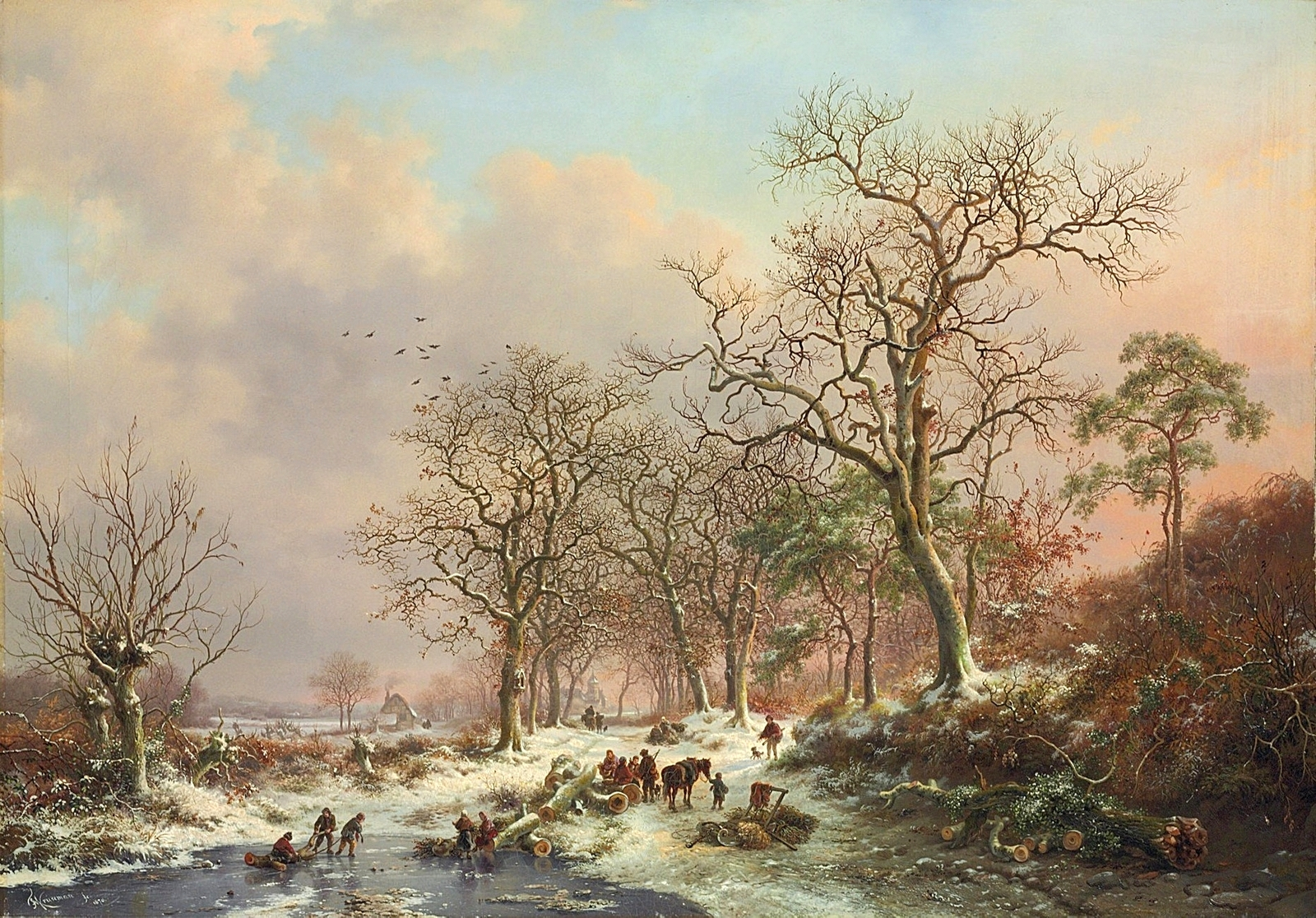 Frederik Marinus Kruseman – private collection. Title: Wood gatherers in a winter landscape, with a castle beyond. Date: 1870. Materials: oil on canvas. Dimensions: 70 x 100.5 cm. Inscriptions: FMKruseman fc. 1870 (lower left); signed and dated again and authenticated 'Le soussigné déclare avoir peint le tableau ci contre original et sans reproduction Bruxelles 1870 FMKruseman' (on the reverse). Sold by Christie's in London, on July 7, 2009.. Source: http://2.bp.blogspot.com/-xU_ohar4F1E/VoM2gdUFvDI/AAAAAAAA3gQ/7qRmnVwmdcY/s1600/1870_%25D0%25A1%25D0%25B1%25D0%25BE%25D1%2580%25D1%2589%25D0%25B8%25D0%25BA%25D0%25B8%2B%25D1%2585%25D0%25B2%25D0%25BE%25D1%2580%25D0%25BE%25D1%2581%25D1%2582%25D0%25B0%2B%25D0%25B2%2B%25D0%25B7%25D0%25B8%25D0%25BC%25D0%25BD%25D0%25B5%25D0%25BC%2B%25D0%25BF%25D0%25B5%25D0%25B9%25D0%25B7%25D0%25B0%25D0%25B6%25D0%25B5%2B%25D1%2581%2B%25D0%25B7%25D0%25B0%25D0%25BC%25D0%25BA%25D0%25BE%25D0%25BC%2B%25D0%25B2%25D0%25B4%25D0%25B0%25D0%25BB%25D0%25B8%2B%2528Wood%2Bgatherers%2Bin%2Ba%2Bwinter%2Blandscape%2529_70%2B%25D1%2585%2B100.5_%25D1%2585.%252C%25D0%25BC._%25D0%25A7%25D0%25B0%25D1%2581%25D1%2582%25D0%25BD%25D0%25BE%25D0%25B5%2B%25D1%2581%25D0%25BE%25D0%25B1%25D1%2580%25D0%25B0%25D0%25BD%25D0%25B8%25D0%25B5.jpg. I have changed the light and contrast of the original photo.