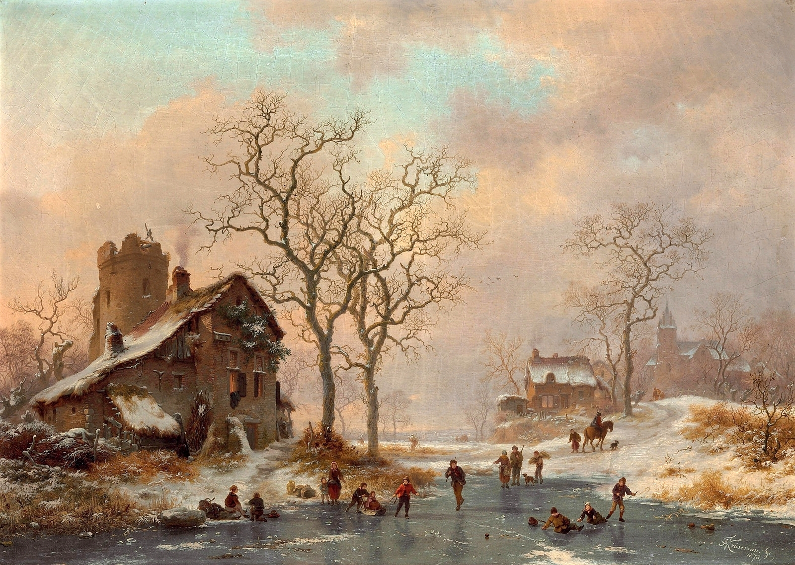 Frederik Marinus Kruseman – private collection. Title: Skaters at Dusk.  Date: 1878. Materials: oil on canvas. Dimensions: 49.6 x 69.9 cm. Inscriptions: M Kruseman fc/1878' (lower right); Le sous signé déclare avoir peint le tableau ci contre original/sans reproduction Bruxelles 1878. FM Kruseman' (on the reverse). Sold by Christie's in New York, on January 27, 2010. Source: http://2.bp.blogspot.com/-qWKEm3wMeaE/VoM2kW_yrHI/AAAAAAAA3gc/JvKhxwEEA9s/s1600/1878_%25D0%259A%25D0%25BE%25D0%25BD%25D1%258C%25D0%25BA%25D0%25BE%25D0%25B1%25D0%25B5%25D0%25B6%25D1%2586%25D1%258B%2B%25D0%25B2%2B%25D1%2581%25D1%2583%25D0%25BC%25D0%25B5%25D1%2580%25D0%25BA%25D0%25B0%25D1%2585%2B%2528Skaters%2Bat%2Bdusk%2529_49.6%2Bx%2B69.9_%25D1%2585.%252C%25D0%25BC._%25D0%25A7%25D0%25B0%25D1%2581%25D1%2582%25D0%25BD%25D0%25BE%25D0%25B5%2B%25D1%2581%25D0%25BE%25D0%25B1%25D1%2580%25D0%25B0%25D0%25BD%25D0%25B8%25D0%25B5.jpg. I have changed the contrast of the original photo.