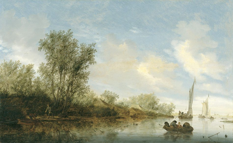 Salomon van Ruysdael – Museo Thyssen Bornemisza 360 (1930.102). Title: A River with Fishermen. Date: 1645. Materials: oil on panel. Dimensions: 51.5 x 83.6 cm. Nr. 360 (1930.102). Source: http://www.museothyssen.org/en/thyssen/ficha_obra/201. I have changed the light and contrast of the original photo.
