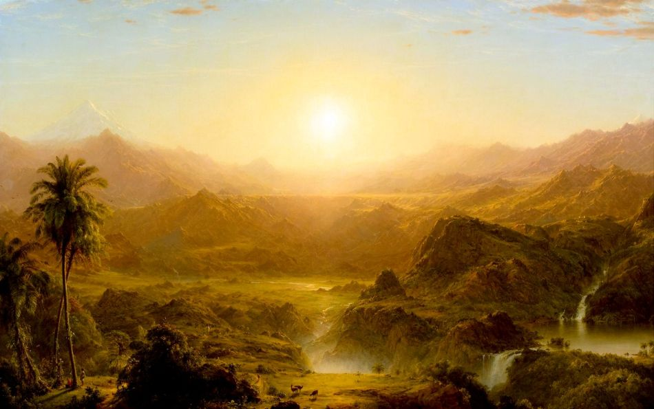 Frederic Edwin Church – Reynolda House Museum of American Art 1966.2.9. Title: The Andes of Ecuador. Date: 1855. Materials: oil on canvas. Dimensions: 121.9 x 194.3 cm. Nr.: 1966.2.9. Source: http://www.reynoldahouse.org/sites/default/files/tms-objects/1966_2_9_m1_0000.jpg. I have changed the light, contrast and colors of the original photo