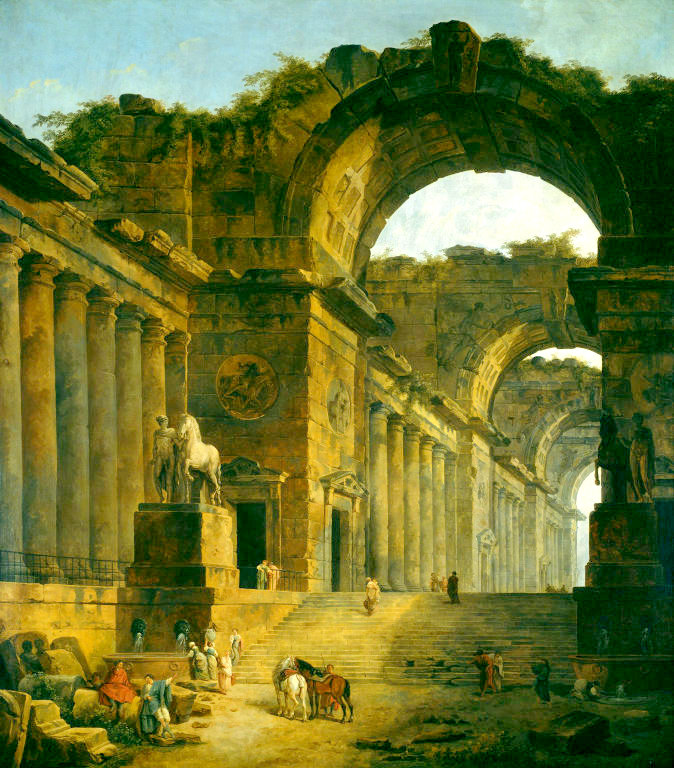 Hubert Robert – The Art Institute of Chicago 1900.385. Title: The Fountains.  Date: 1787/1788. Materials: oil on canvas. Dimensions: 255.3 x 221.2 cm. Nr.: 1900.385. Source: http://www.artic.edu/aic/collections/citi/images/standard/WebLarge/WebImg_000148/265_1576655.jpg. I have changed the light of the original photo.