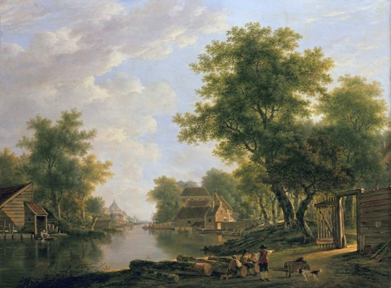 Jacob van Strij – Dordrechts Museum DM/980/470. Title: Landschap met rivier en geboomte in de omgeving van Dordrecht. Date: c. 1780-1810. Materials: oil on panel. Dimensions: 70.7 x 95 cm. Nr.: DM/980/470. Source: https://media.izi.travel/22cdc64c-de58-4d5d-aa10-67eb14fa941b/28267c7e-2042-4a35-a43c-aef26777db27_800x600.jpg. I have changed the light of the original photo.