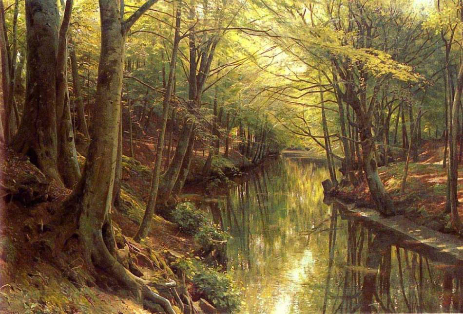 Peder Mørk Mønsted – private collection. Title: A Woodland Stream.  Date: 1923. Materials: oil on canvas. Dimensions: 90.8 x 135.3 cm. Inscriptions: 'P. Monsted. Soeby. 1923 (lower left). Sold by Christie's in New York, on April 19, 2005. Source: http://territa.ru/_ph/399/947524513.jpg.