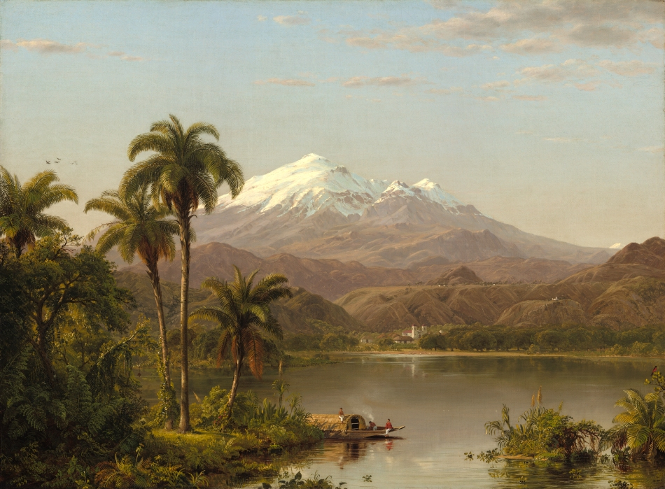 Frederic Edwin Church – National Gallery of Art 2014.79.11. Title: Tamaca Palms. Date: 1854. Materials: oil on canvas. Dimensions: 67.9 x 91.3 cm. Inscriptions: CHURCH 1854 (lower left). Nr. 2014.79.11. Source: http://www.nga.gov/content/ngaweb/Collection/art-object-page.166437.html. I have changed the contrast of the original photo.