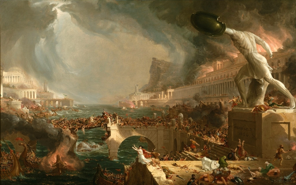 Thomas Cole – The New-York Historical Society 1858.4. Title: The Course of Empire: Destruction. Date: 1833-1836. Materials: oil on canvas. Dimensions: 100 x 161 cm. Nr.: 1858.4. Source: http://sizzlingwallpapers.com/wp-content/uploads/2014/02/Amazing-Art82.jpg. I have changed the contrast of the original photo.