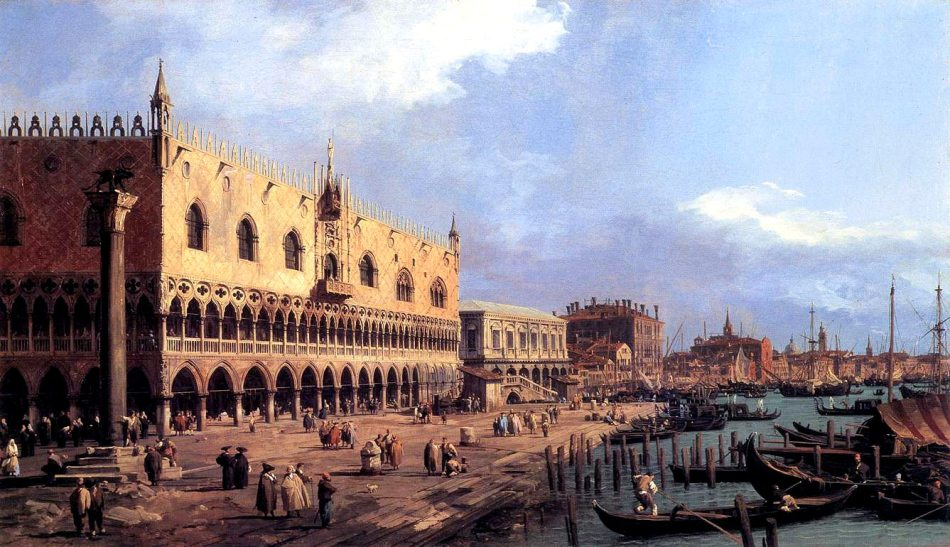 Canaletto – Tatton Park. Title: The Doge's Palace and Riva degli Schiavoni, Venice. Date: c. 1730. Materials: oil on canvas. Dimensions: 59.5 x 101.5 cm. Sourcehttp://www.artinvest2000.com/canaletto_riva_schiavoni.jpg. I have changed the light of the original photo.