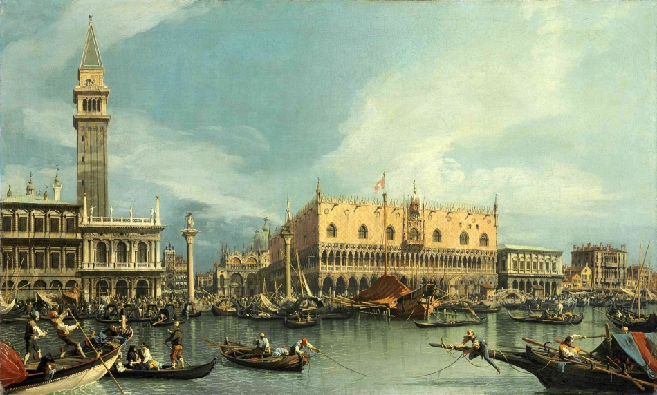 Canaletto – private collection? Title: The Molo, Venice, from the Bacino di San Marco. Date: c.1730s. Materials: oil on canvas. Dimensions: 68.8 x 112.7 cm. Sold by Christie's in London, on July 2, 2013. Source: http://www.christies.com/lotfinderimages/d57018/d5701805a.jpg. I have changed the light and contrast of the original photo.