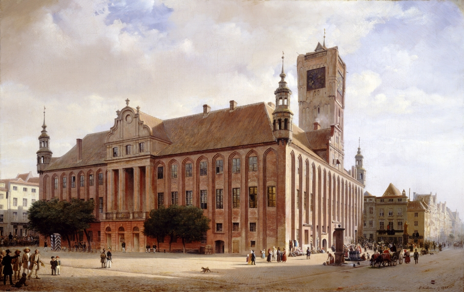 Eduard Gaertner - National Gallery of Art 1973.13.1. Title:  City Hall at Thorn. Date: 1848. Materials: oil on canvas. Dimensions: 50.7 x 80 cm. Nr.: 1973.13.1. Source: http://www.nga.gov/image/a00062/a00062f1.jpg. I have changed the contrast of the original photo.