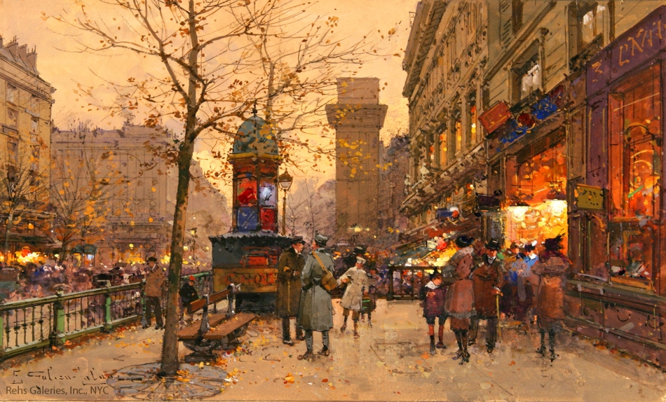 Eugène Galien-Laloue – private collection. Title: Porte St. Martin.  Date: c. 1900-1920. Materials: gouache on paper. Dimensions: 19 x 31 cm. Source: http://www.rehs.com/catalogimages/eugene_galien_laloue_b1658_porte_st_martin_wm.jpg. I have changed the light and contrast of the original photo.