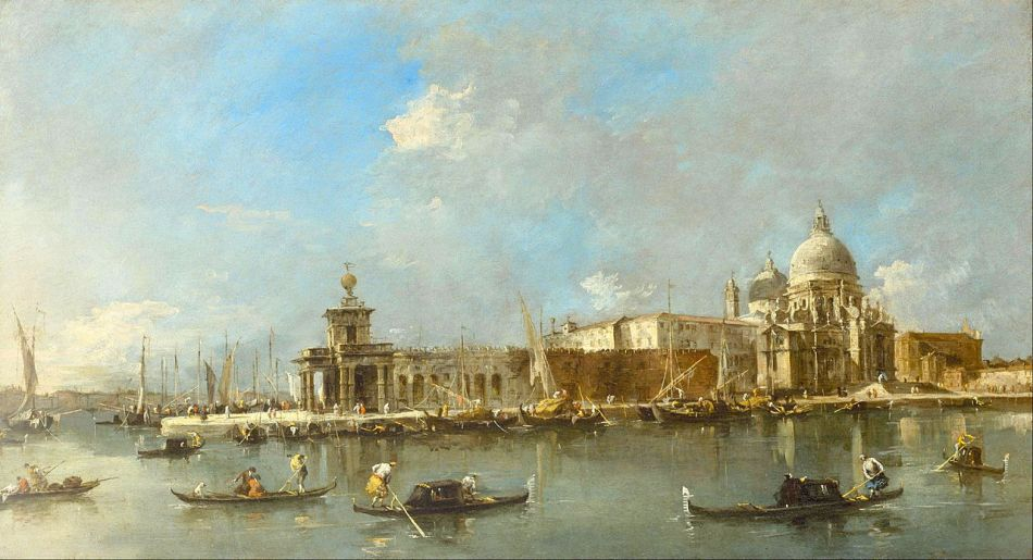 Francesco Guardi – The Museum of Fine Arts (Houston) 44.562. Title: 	Santa Maria della Salute and the Dogana, Venice.  Date: c. 1783. Materials: oil on canvas. Dimensions: 49.8 x 89.9 cm. Nr.: 44.562 Source: https://commons.wikimedia.org/wiki/File:Francesco_Guardi_-_Santa_Maria_della_Salute_and_the_Dogana,_Venice_-_Google_Art_Project.jpg. I have changed the light and contrast of the original photo.