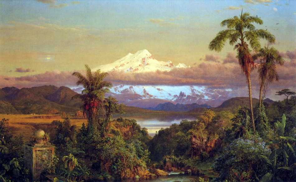 Frederic Edwin Church – New-York Historical Society S-91. Title: Cayambe. Date: 1858. Materials: oil on canvas. Dimensions: 76.2 x 122.2 cm. Inscriptions: FE.Church/1858. Nr. S-91. Source: http://2.bp.blogspot.com/-sjZwKWtx7Kk/UBwN1osvUoI/AAAAAAAAIx4/ym3tEGrHTd8/s1600/Frederic+Edwin+Church+-+Cayambe.jpg. I have changed the light of the original photo.