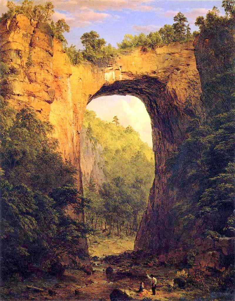 Frederic Edwin Church – The Fralin Museum of Art at the University of Virginia 1912.1. Title: 	The Natural Bridge, Virginia.  Date: 1852. Materials: oil on canvas. Dimensions: 96.5 x 83.8 cm. Nr.: 1912.1. Source: http://m1.paperblog.com/i/58/589687/frederic-edwin-church-pinturas-L-OCoc0c.jpeg. I have changed the light and contrast of the original photo