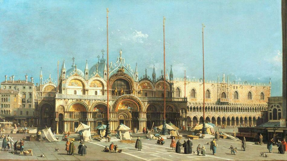 Canaletto – Arp Museum Bahnhof Rolandseck. Title: Saint Mark's Square in Venice.  Date: c. 1740-1750. Materials: oil on canvas. Dimensions: 58.5 x 103 cm. Nr.: ? Source: http://arpmuseum.org/imagetypes/arp_img_slideshow/6__42-canaletto__markusplatz_mit_dogenpalast__foto_bernhard_klein__freigestellt.jpg. I have changed the light, contrast and colors of the original photo.