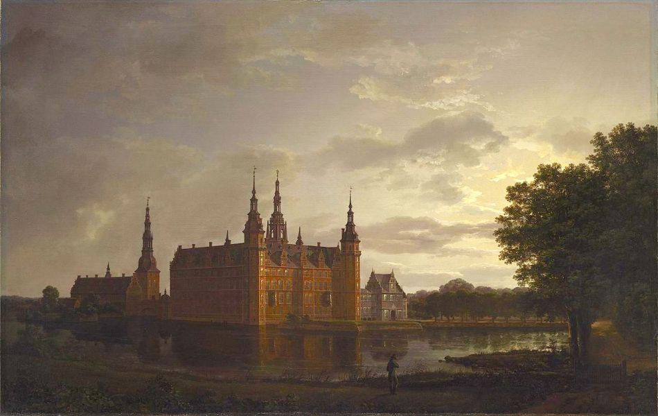 Johan Christian Dahl – Dallas Museum of Art 2014.22.FA. Title: Frederiksborg Castle.  Date: 1817. Materials: oil on canvas. Dimensions: 78.7 x 123.8 cm. Nr. 2014.22.FA. Source: https://commons.wikimedia.org/wiki/File:Johan_Christian_Claussen_Dahl_-_Frederiksborg_slott_(1817).jpg. I have changed the light and contrast of the original photo.