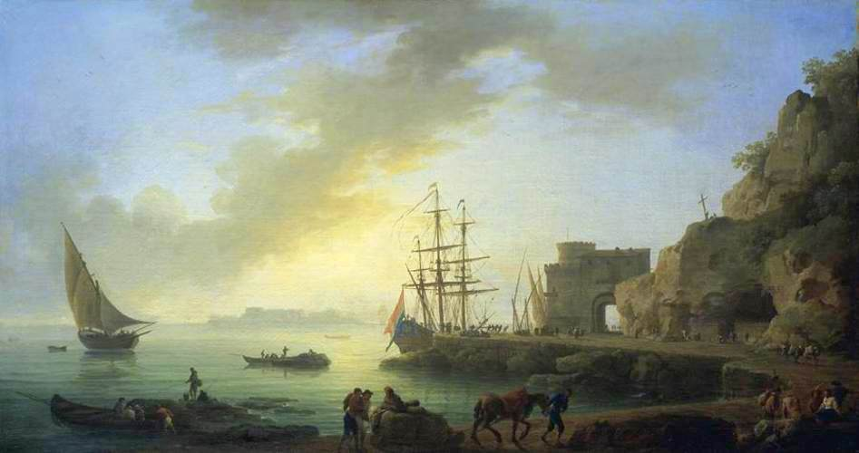 Claude-Joseph Vernet – private collection. Title: Mediterranean Port at Dawn. Date: c.1750. Materials: oil on canvas. Dimensions: 73 x 135 cm. Source: https://commons.wikimedia.org/wiki/File:Joseph_Vernet_-_Mediterranean_Port_at_Dawn_-_WGA24729.jpg. I have changed the light and colors of the original photo.
