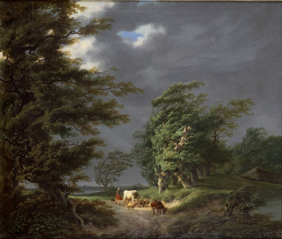 Hermanus van Brussel – Teylers Museum KS 1992 001. Title: Landscape in Stormy Weather.  Date: 1794. Materials: oil on canvas. Dimensions: 70 x 80 cm. Nr. KS 1992.001. Source: http://www.teylersmuseum.nl/en/collection/art/ks-1992-001-landschap-bij-stormachtig-weer/slideshow/ks-1992-001-jpg/@@images/image/large. I have changed the light and contrast of the original photo.
