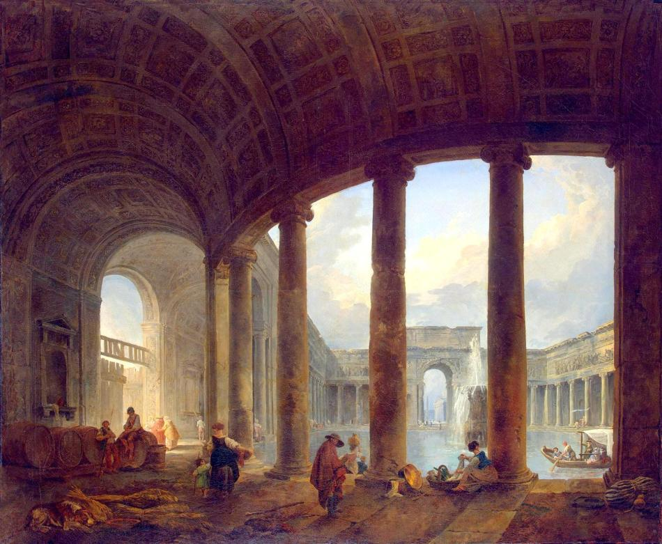 Hubert Robert – The Hermitage Museum ГЭ-9609. Title: Pool Surrounded by a Colonnade (Villa Giulia ?). Date: 1760s - early 1770s. Materials: oil on canvas. Dimensions: 116.5 x 141 cm. Nr.: ГЭ-9609. Source: http://www.hermitagemuseum.org/wps/portal/hermitage/digital-collection/01.+Paintings/38197/?lng=en. I have changed the light of the original photo.
