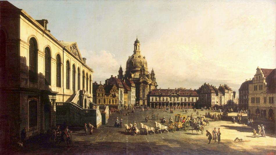 Bernardo Bellotto – The Hermitage Museum ГЭ-204. Title: New Market-Place (Neumarkt) in Dresden. Date: 1747. Materials: oil on canvas. Dimensions: 134.5 x 236.5 cm. Acquisition date: 1920. Nr.: ГЭ-204. Source: http://hermitagemuseum.org/wps/portal/hermitage/digital-collection/01.+Paintings/32286/?lng=en. I have changed the light, contrast and colors of the original photo