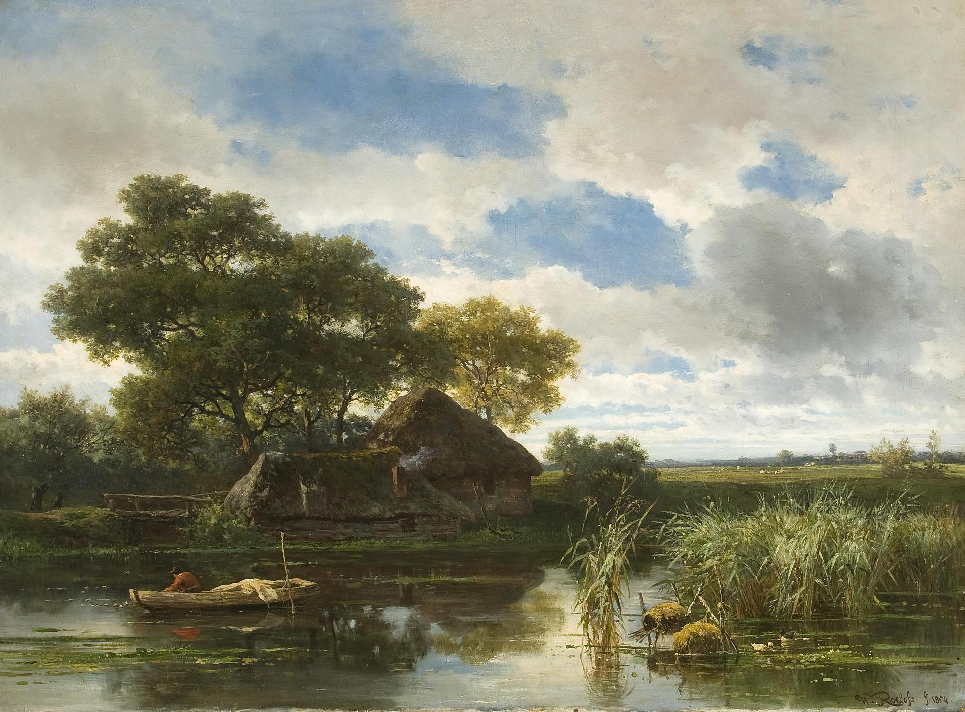 Willem Roelofs I – The Hermitage Museum ГЭ-3949. Landscape with a ...