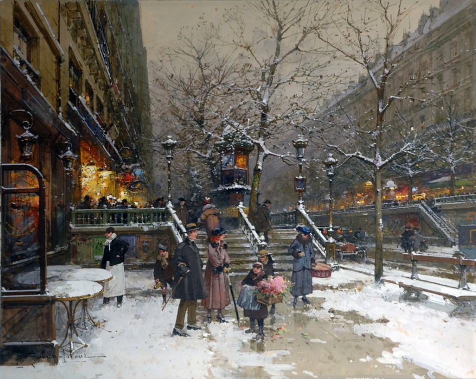 Eugène Galien-Laloue – private collection. Title: Le Boulevard Saint Martin.  Date: c. 1900-1920. Materials: watercolor and gouache. Dimensions: 31.8 cm (height). Source: https://img-fotki.yandex.ru/get/46165/201409892.1c0/0_12e5f1_2bf19512_XXL.jpg.
