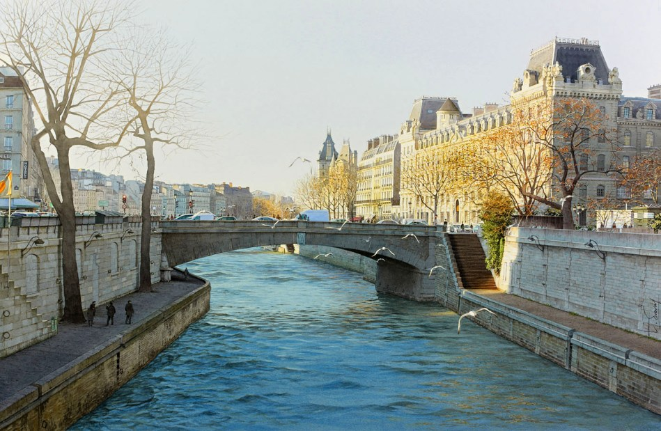 Thierry Duval – private collection. Title: Le petit Pont du grand Paris.  Date: 2014. Materials: watercolor. Dimensions: 58 x 87 cm. Source: https://www.flickr.com/photos/miafeigelson/14337059533/in/album-72157632428863927/. I have changed the contrast of the original photo.