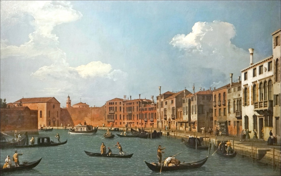 Canaletto – Musée Cognacq-Jay J 18. Title: Vue du canal de Santa Chiara, à Venise.  Date: c. 1730. Materials: oil on canvas. Dimensions: 48.5 x 79 cm. Source: https://www.flickr.com/photos/dalbera/15274960963/sizes/h/.