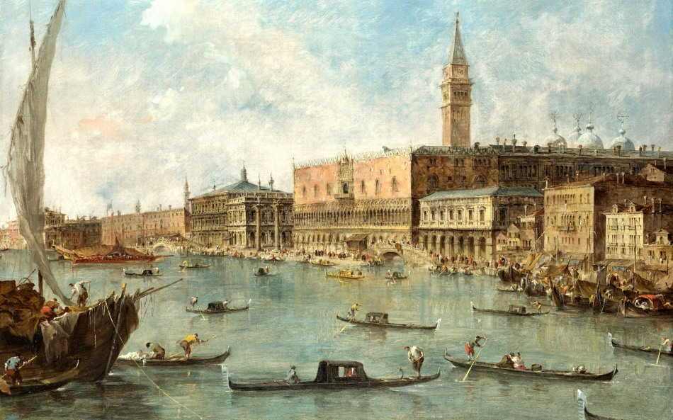 Francesco Guardi – The National Gallery (London) NG2099. Title: The Doge's Palace and the Molo.  Date: c.1770. Materials: oil on canvas. Dimensions: 58.1 x 76.4 cm. Acquisition date: 1906. Nr.: NG2099. Source: https://www.flickr.com/photos/130229135@N05/15907718260/sizes/o/. I have changed the light of the original photo.