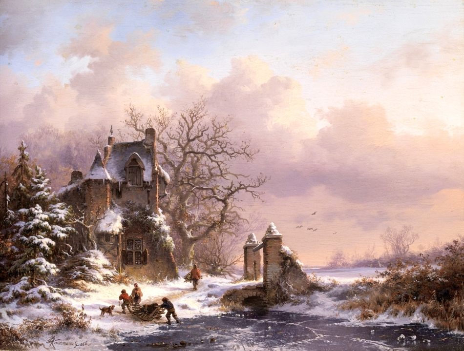 Frederik Marinus Kruseman – private collection. Title: Winterlandschaft.  Date: 1856. Materials: oil on oak panel. Dimensions: 29 x 38,5 cm. Inscriptions: CN Kruseman fc. 1856. (lower left). Auctioned by Hampel Fine Art Auctions in Munich, Amsterdam, on December 3, 2010. Source: http://1.bp.blogspot.com/-KpB7EAhNPVQ/VoM2NQ5jYxI/AAAAAAAA3fA/7cX3XHIFC7s/s1600/1856_%25D0%2597%25D0%25B8%25D0%25BC%25D0%25BD%25D0%25B8%25D0%25B9%2B%25D0%25BF%25D0%25B5%25D0%25B9%25D0%25B7%25D0%25B0%25D0%25B6%2B%2528Winter%2Blandscape%2529_29%2Bx%2B38.5_%25D0%25B4.%252C%25D0%25BC._%25D0%25A7%25D0%25B0%25D1%2581%25D1%2582%25D0%25BD%25D0%25BE%25D0%25B5%2B%25D1%2581%25D0%25BE%25D0%25B1%25D1%2580%25D0%25B0%25D0%25BD%25D0%25B8%25D0%25B5.jpg. I have changed the light and contrast of the original photo