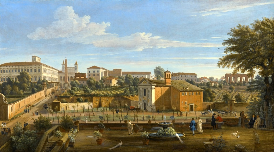 Caspar van Wittel – private collection. Title: Rome. A View of the Church of Santi Marcellino e Pietro, from the Vigna Ciccolini, with the Palazzo Laterano, the Church of San Giovanni in Laterano, the Ospedale di San Giovanni and Ruins of the Claudian Aqueduct Beyond.  Date: c. 1707-1710. Materials: oil on canvas. Dimensions: 75 x 132.8 cm. Auctioned by Sotheby's, in New York, on January 28, 2016.. Source: http://www.sothebys.com/content/dam/stb/lots/N09/N09460/285N09460_5VW7B.jpg. I have changed the contrast of the original photo.