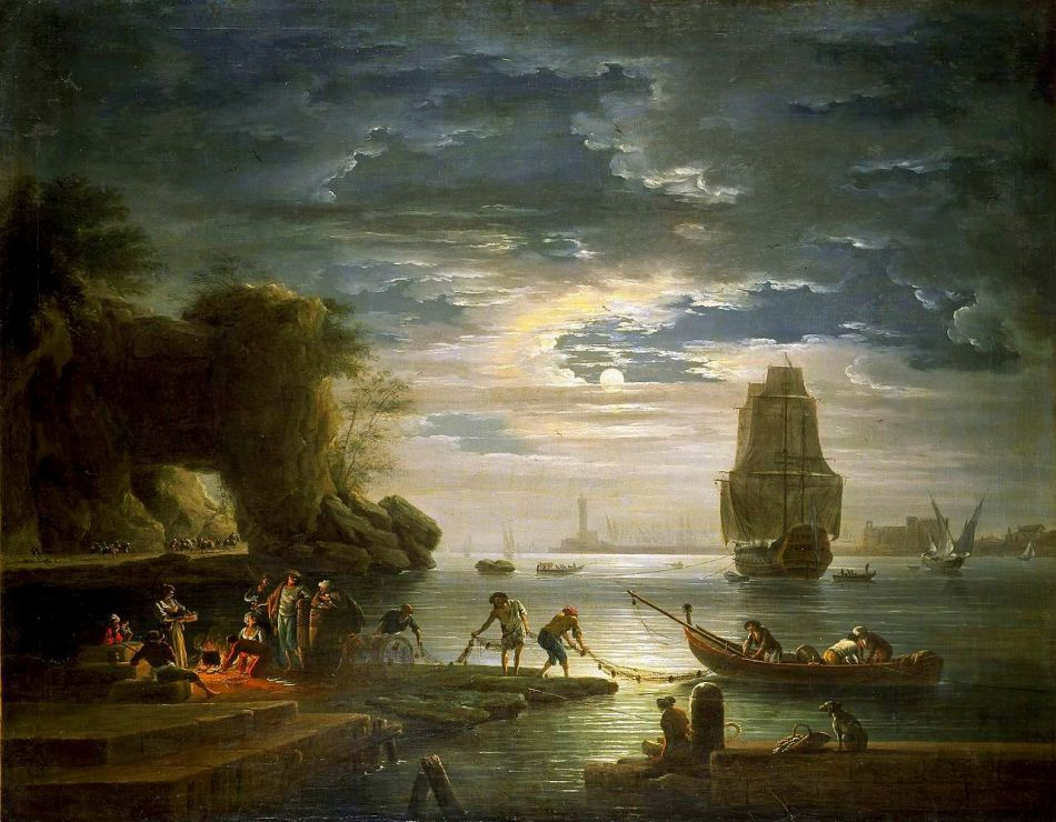 Claude-Joseph Vernet – The Ashmolean Museum A1036. Title: Coastal Scene (La nuit).  Date: c.1750s. Materials: oil on canvas. Dimensions: 97 x 123 cm. Acquisition date: 1967. Nr.: A1036. Source: https://commons.wikimedia.org/wiki/File:Claude_Joseph_Vernet_-_La_nuit_(Ashmolean_Museum).jpg /. I have changed the light, contrast and colors of the original photo.