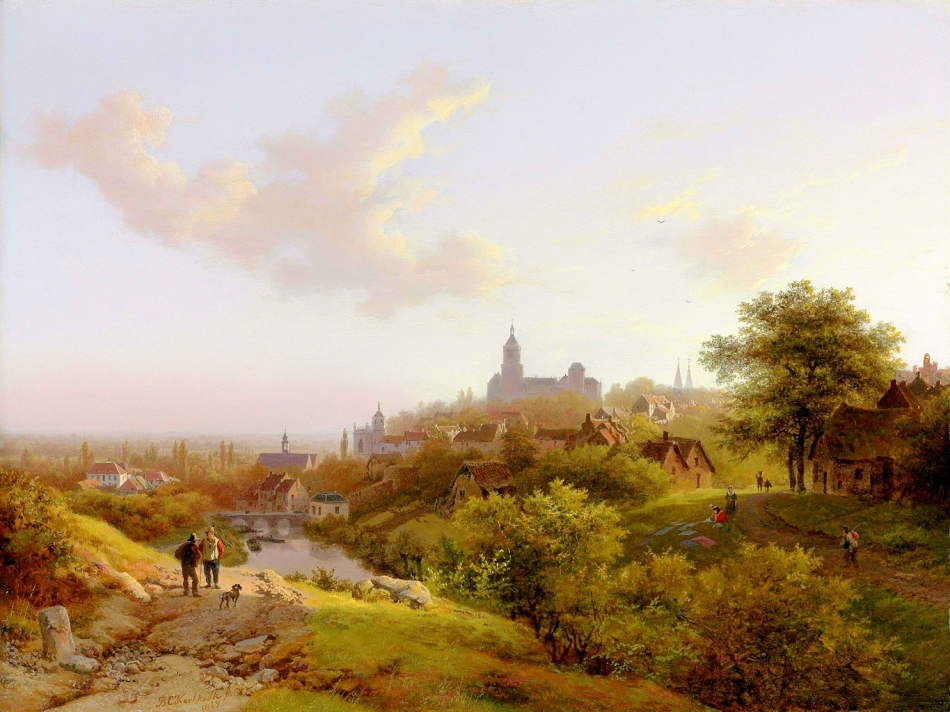 Barend Cornelis Koekkoek – private collection. Title: 	A View of Cleves.  Date: 1847. Materials: oil on panel. Dimensions: 30.4 x 40.6 cm. Inscriptions: BC Koekkoek fec. 1847 (lower left). Sold by Christie's in London, on June 12, 2012. Source: http://www.christies.com/lotfinderimages/d55762/d5576202a.jpg. I have changed the light and contrast of the original photo.