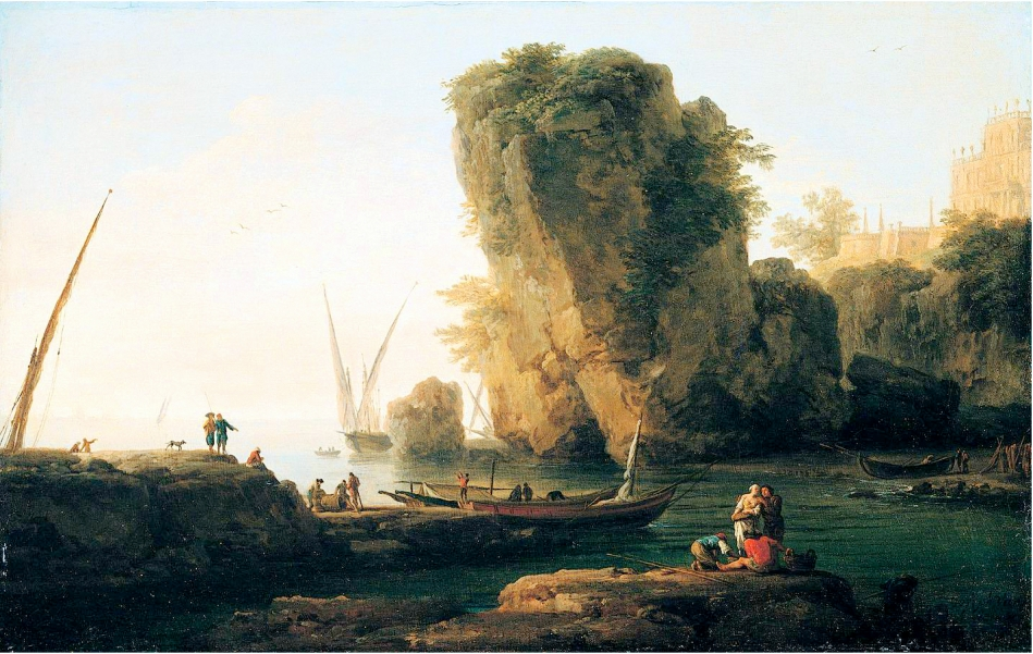 Claude-Joseph Vernet – private collection. Title: Coastal Landscape. Date: 1747. Materials: oil on canvas. Dimensions: 32 x 50 cm. Source: http://www.the-athenaeum.org/art/full.php?ID=108009#/. I have changed the light, contrast and colors of the original photo.