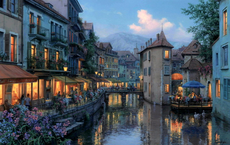 Evgeny Lushpin – collection of the artist. Title: Evening in Annecy.  Date: 2015. Materials: oil on canvas. Dimensions: 61 x 97 cm. Source: http://lushpin.com/uploads/picture/image/Evening_in_Annecy.jpg. I have changed the light and contrast of the original photo.