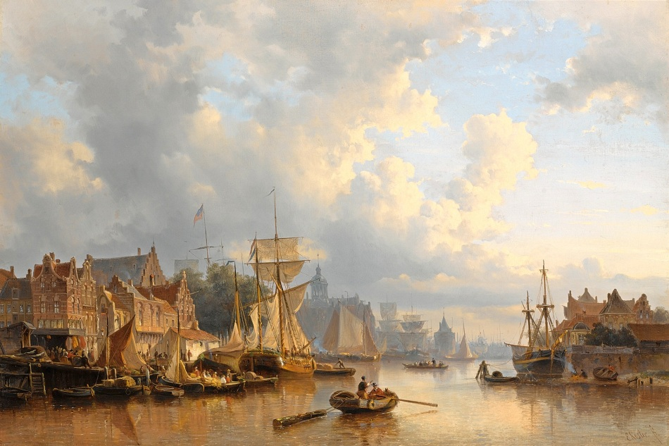 Everhardus Koster – private collection. Title: Ships on the River Ij, Amsterdam.  Date: after 1848 and before 1893. Materials: oil on canvas. Dimensions: 67 x 98 cm. Sold by Sotheby's in Amsterdam, on April 24, 2007. Source: https://commons.wikimedia.org/wiki/File:Everhardus_Koster_-_Ships_on_the_River_Ij,_Amsterdam.jpg. I have changed the light of the original photo.