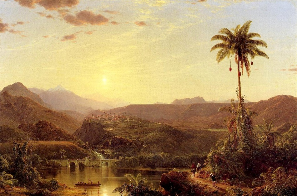 Frederic Edwin Church – private collection. Title: The Cordilleras, Sunrise.  Date: 1854. Materials: oil on canvas. Dimensions: 72.4 x 109.2 cm. Source: https://commons.wikimedia.org/wiki/File:Frederic_Church_-_The_Cordilleras,_Sunrise.jpg. I have changed the light, contrast and colors of the original photo.
