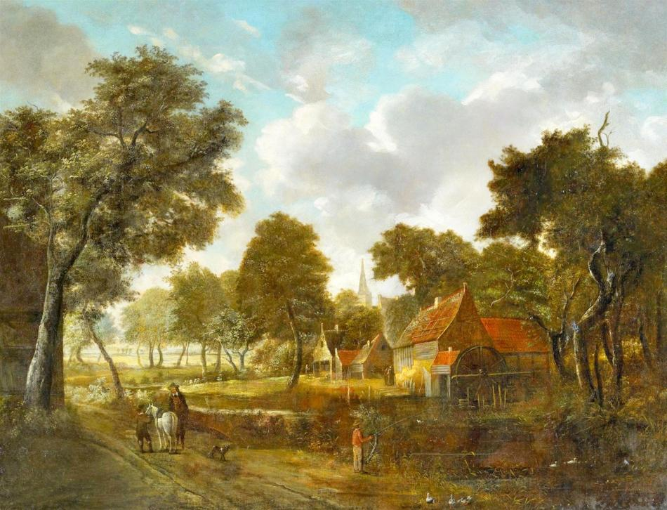 Meindert Hobbema – private collection. Title: 	Watermill and Village in a Wooded Landscape.  Date: 1684. Materials: oil on canvas. Dimensions: 89 x 116 cm. Inscriptions: MHobbema 1684. Sold by Lempertz, on November 14, 2015. Source: https://www.lempertz.com/uploads/tx_lempertzproject/Lempertz_1057_1538_Alte_Kunst_Meindert_Hobbema_Watermill_and_Village_in.jpg. I have changed the light and contrast of the original photo.and_Village_in.jpg