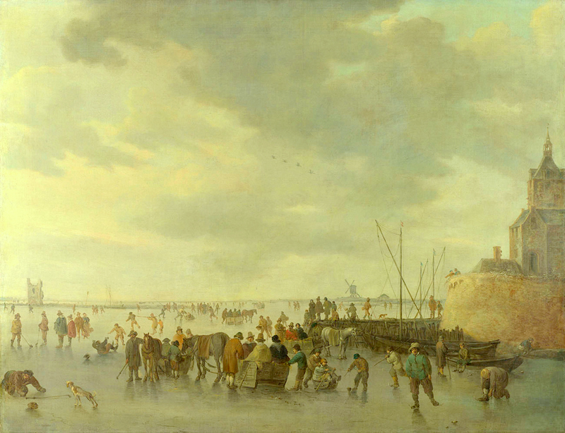 Jan van Goyen – The National Gallery (London) NG1327. Title: A Scene on the Ice near Dordrecht.  Date: 1642. Materials: oil on on canvas. Dimensions: 117.5 x 151 cm. Acquisition date: 1891. Nr.: NG1327. Source: http://www.nationalgallery.org.uk/paintings/jan-van-goyen-a-scene-on-the-ice-near-dordrecht. I have changed the light and contrast of the original photo.