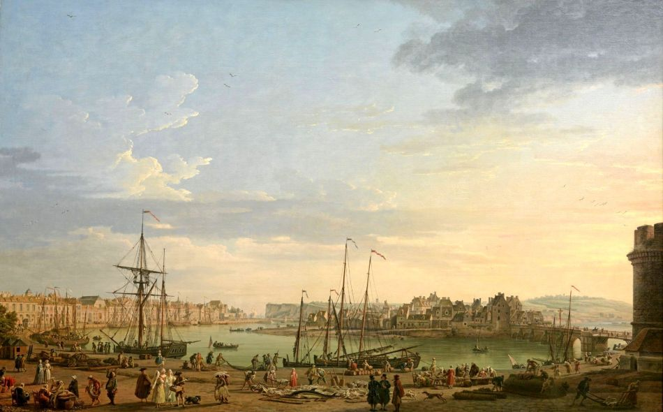 Claude-Joseph Vernet – Musée national de la Marine INV. 8307. Title: Vue du Port de Dieppe.  Date: 1765. Materials: oil on canvas. Dimensions: 165.5 x 264 cm. Nr.: INV. 8307. Source: http://mnm.webmuseo.com/ws/musee-national-marine/app/file/download/num-5-OA-13-D-b-0811-H.jpg?key=5f6caa900hgzcgkhvk6n7k700htk8hg5r&thumbw=2000&thumbh=1500. I have changed the light of the original photo.