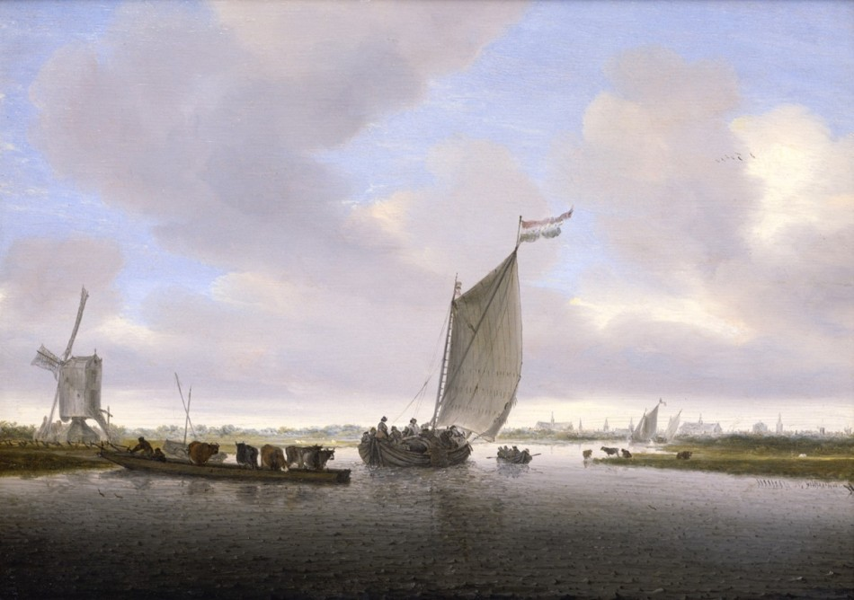 Salomon van Ruysdael – Rose-Marie and Eijk van Otterloo Collection. Title: River Landscape with a Sailboa.  Date: 1655. Materials: oil on panel. Dimensions: 31.1 x 44.1 cm. Source: https://legionofhonor.famsf.org/files/styles/full-width_image_1200/public/Ruysdael_Riverscape.jpg?itok=ie0MRuFd/.