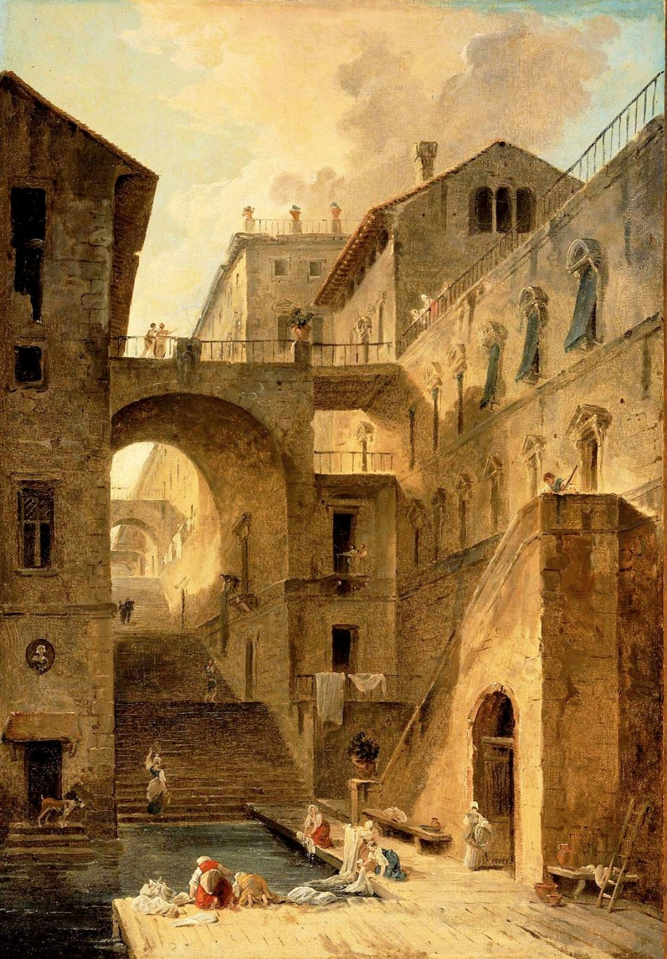 Hubert Robert – Musem of Fine Arts (Boston) 65.2653. TitleL'Escalier des Lavandieres (Stairway of the Washerwomen).  Date: 1796. Materials: oil on paper mounted on canvas. Dimensions: 60 x 41.9 cm. Inscriptions: H. ROBERT/1796 (lower right, on the wall).  Nr.: 65.2653. Source: http://www.mfa.org/collections/object/lescalier-des-lavandieres-stairway-of-the-washerwomen-33942. I have changed the light, contrast and colors of the original photo.