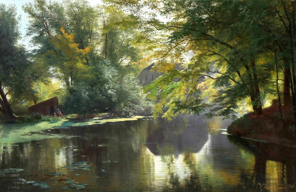 Carl Frederik Peder Aagaard – private collection. Title: View of a Forest Lake with an Angler and his Family. Date: 1880. Materials: oil on canvas. Dimensions: 53 x 82 cm. Source: http://40.media.tumblr.com/585eb63b737254170d243246fb45a467/tumblr_o32n8qw2Yl1rcr5dwo1_1280.jpg/. I have changed the light and contrast of the original photo.